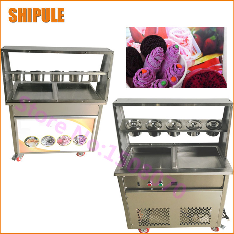 New Commercial Ice Cream Roll Machine Deep 2.5cm Thailand Fry Ice Cream Roll Machine Rolled Fried Ice Cream Machine edtid new high quality small commercial ice machine household ice machine tea milk shop