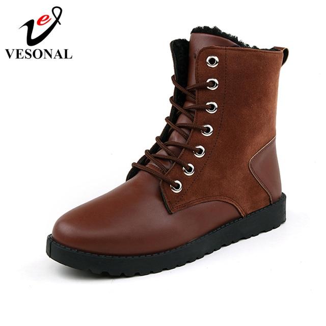 VESONAL Marca DELL'UNITÀ di ELABORAZIONE Mid-Calf Boots Uomo Per Gli Uomini Scarpe Per Adulti 2018 di Inverno Caldo E Confortevole Breve Peluche Del Merletto Up calzature 777