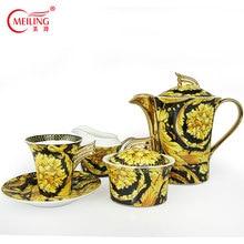 Европейская желтая кофейная чашка с блюдцем костяного фарфора Керамическая чайная чашка набор для любителей кофе Роскошный Подарок Идеи Фарфоровая чашка ручной работы