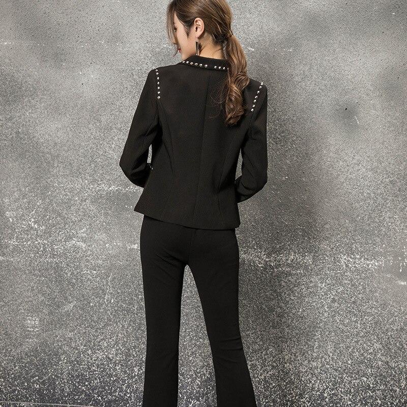 Travail De Manteau Femme Costumes Vêtements D'affaires Office 2019 Broderie Blazer Noir Pantalons Femmes Pantalon Lady Ensemble Décontractés Mode RwHYwqX8