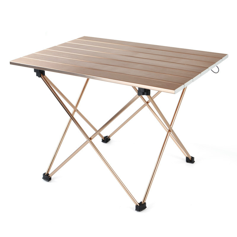 Outdoor Camping Portable And Easy Wire Drawing Table Aluminum Alloy Folding Table Barbecue Table Picnic Table Light Caffeine