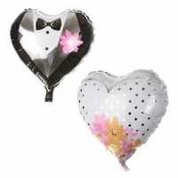 KUWANLE 10 unids/lote 18 pulgadas en forma de corazón de novio de la boda vestido de novia de fiesta decoración de regalo de día de San Valentín Globos