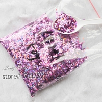 50g Bag Laser Dark Pink Rhombus Paillette 3D Nail Art Diamond Shape Acrylic Nail Sequins Manicure