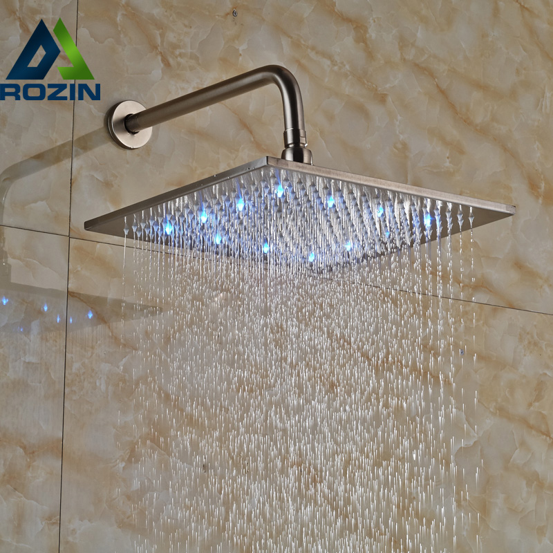 12 Color Changing LED Rainfall Shower Faucet Head Wall  Mount Brushed Nickel Showerhead with Shower Arm