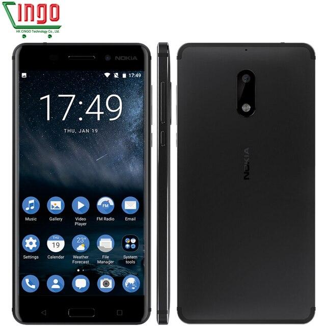 2017 оригинал nokia 6 android 7 lte смартфон 4 г ram 64 Г ROM Окта Ядро Двойной Карточки Отпечатков Пальцев 3000 мАч WIFI GPS Android доза