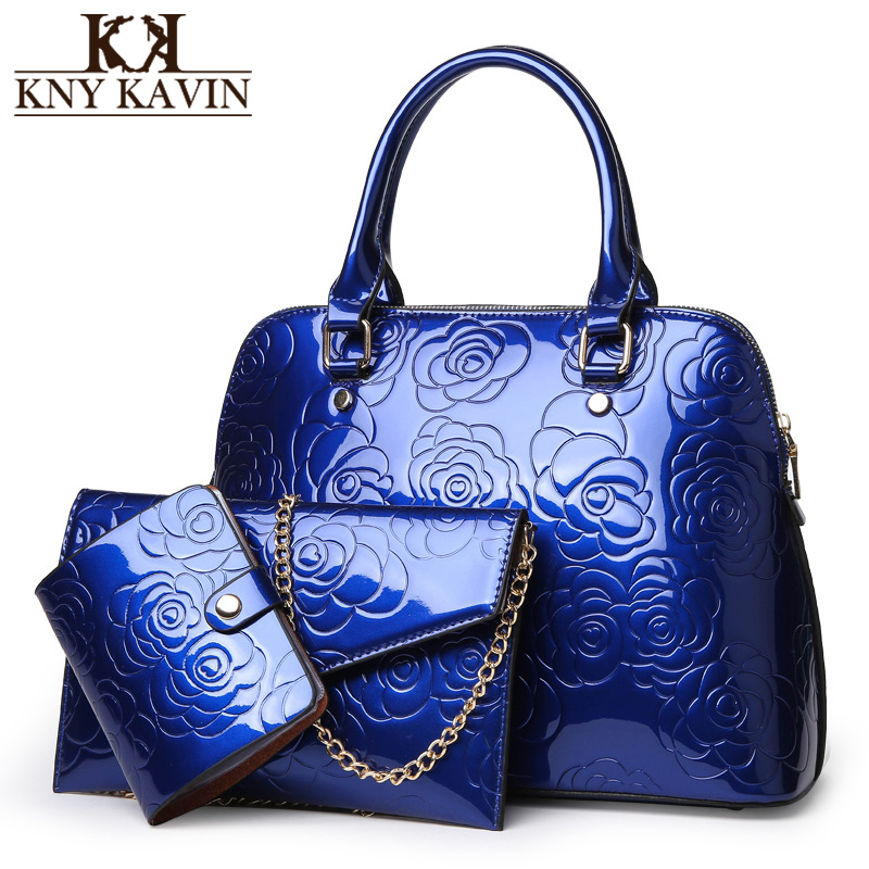 KNY KAVIN Composite Bag 3 Bags/Set Patent Leather Women Shell Handbags Luxury Floral Shoulder Bag Clutch Bag and Card Holder coofit luxury composite bag set women