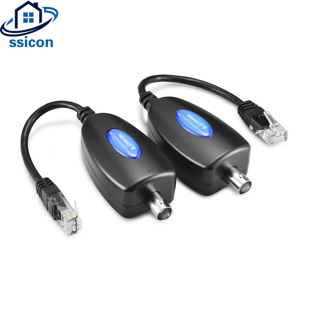 SSICON 2Pairs 1-CH Passive IP Extender Over Coax Transmit IP Camera Signal Over Existing Coaxial Cable At 100Mbps For IP Camera