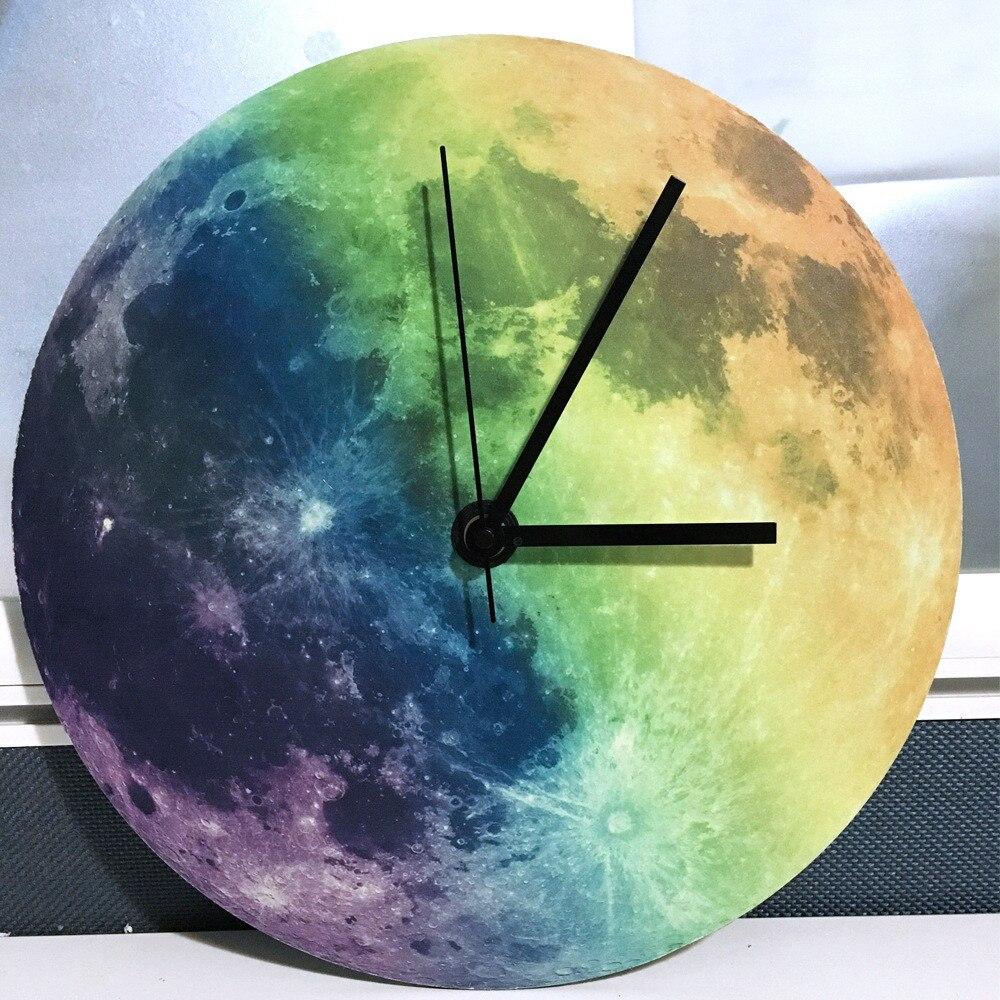 1 Pcs Glow In The Dark Moon Wall Clockromantic Luminous Moon Home