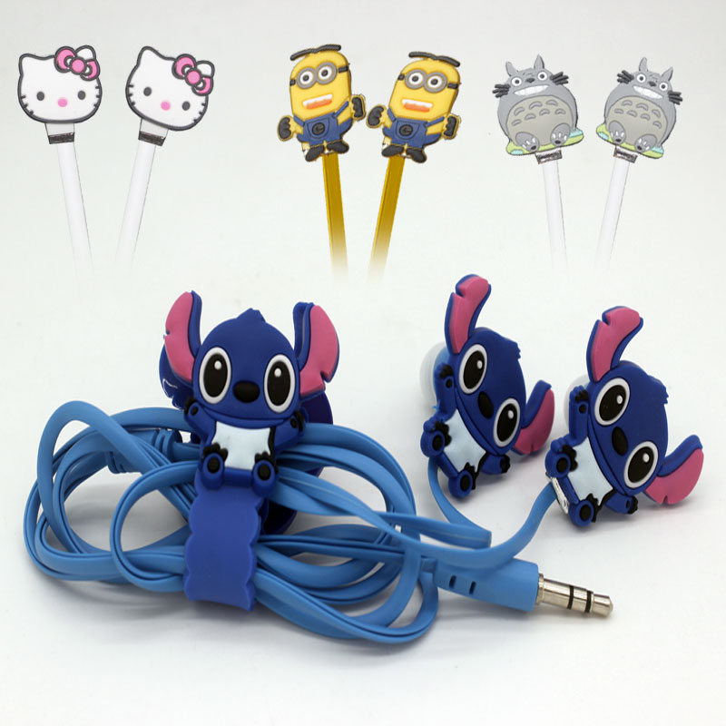 wholes High quality NEW cartoon in-ear 3.5mm earphone Despicable Me Hello Kitty Minions model stitch  anime noodles headphones korting hk 62001 b
