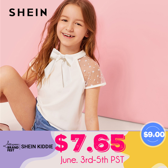 SHEIN Kiddie White Stand Collar Bow Front Sheer Cute Blouse Kids Top 2019 Summer Dot Mesh Sleeve Button Casual Blouses For Girls