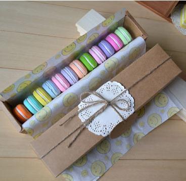 Real Free Shipping 20 Pcs Lot Kraft Paper Macaron