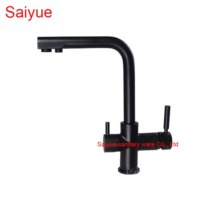Unique Black Marble Stone Polished 360 Degree Rotating Dual Handle Brass Swivel Kitchen Sink Mixer Deck