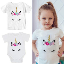 Mother Daughter Clothes Hotsale Unicorn Family Matching Tshirt Cute Baby Kids Mom Outfits Look E300