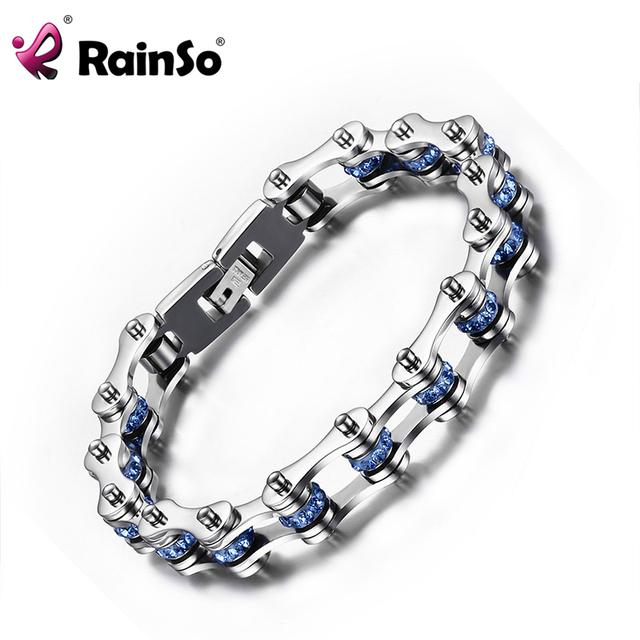 De Rainso Brazalete de Acero Inoxidable Del Estilo Punky de Los Hombres Joyería Blue Bead Chain Biker Bicicletas Pulseras Para Hombre JEW01486