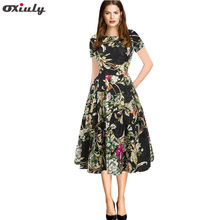 Oxiuly Vintage Dress O-neck Women Elegant Floral Polka Dot Plaid Printing Patchwork Pockets Puffy Swing Casual Party
