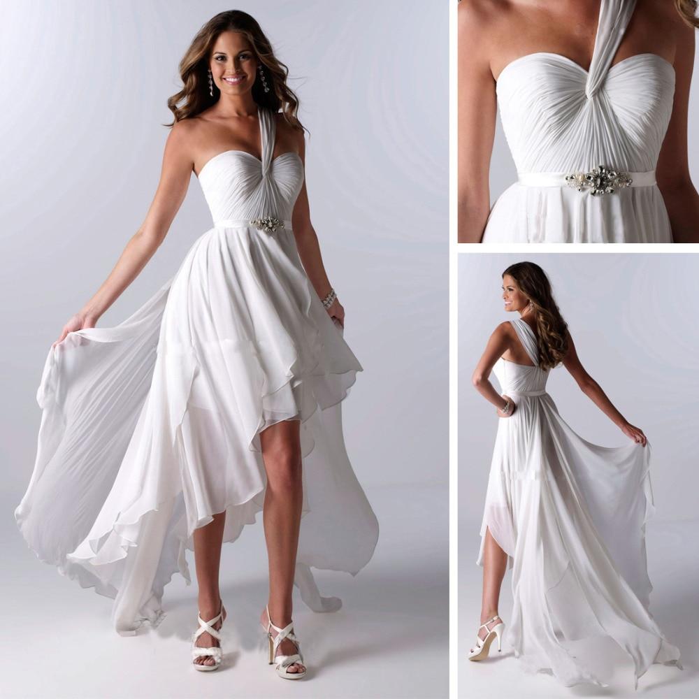 2013 Chiffon Short Front Long Train Wedding Dress Dresses