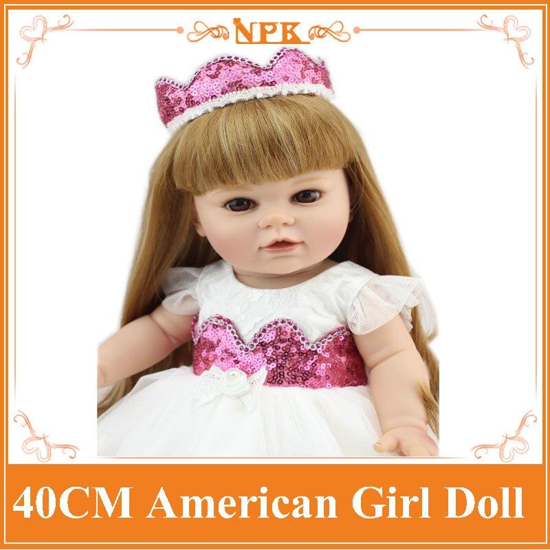 Latest 40cm NPK Full Vinyl Silicone Reborn Baby Doll Lifelike Cute American Girl Doll Toy As Birthday Gift Brinquedos For Child lifelike american 18 inches girl doll prices toy for children vinyl princess doll toys girl newest design