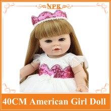 Latest 40cm NPK Full Vinyl Silicone Reborn Baby Doll Lifelike Cute American Girl Doll Toy As Birthday Gift Brinquedos For Child