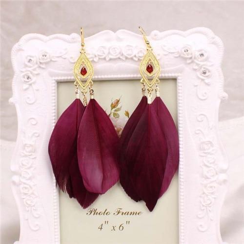 H:HYDE Ethnic Boho Earrings Colorful Enamel Beads Feather Tassel Drop Ethnic Lon