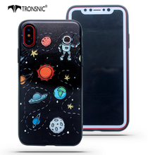 Tronsnic Universe Phone Case For iPhone 6 6S plus 7 Plus 8 Plus Astronaut Cute Case for iPhone X Relief Planet Stars Cover Black