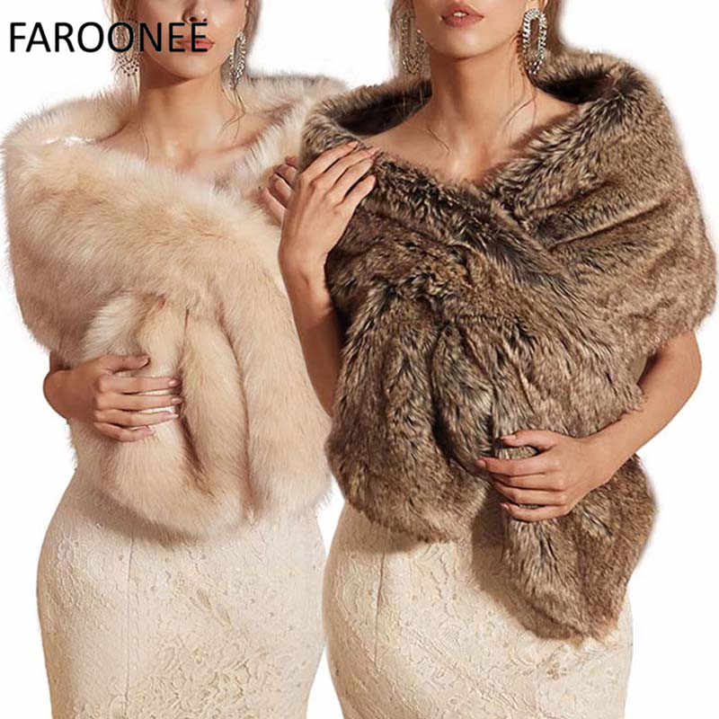 Fur Faux Winter Bolero Women Bridal Shawl Wedding Cape In Stock Bridal Cloaks Wedding Coat Jacket For Evening Party