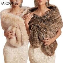 Bolero de invierno de piel sintética para mujer, chal de novia, capa de boda, en Stock, chaqueta de abrigo de novia para fiesta de noche
