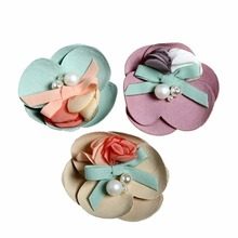 10pcs/lot Baby Headbands 2 Layers 3 Petals Flowers with Pearls Fabric For Kid`s birthday hairband DIY Accessories