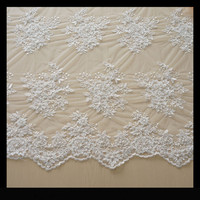 Free DHL cotton yard guipureBead lace fabric /african cord for party wedding dress Embroidery beaded lace cotton lace white