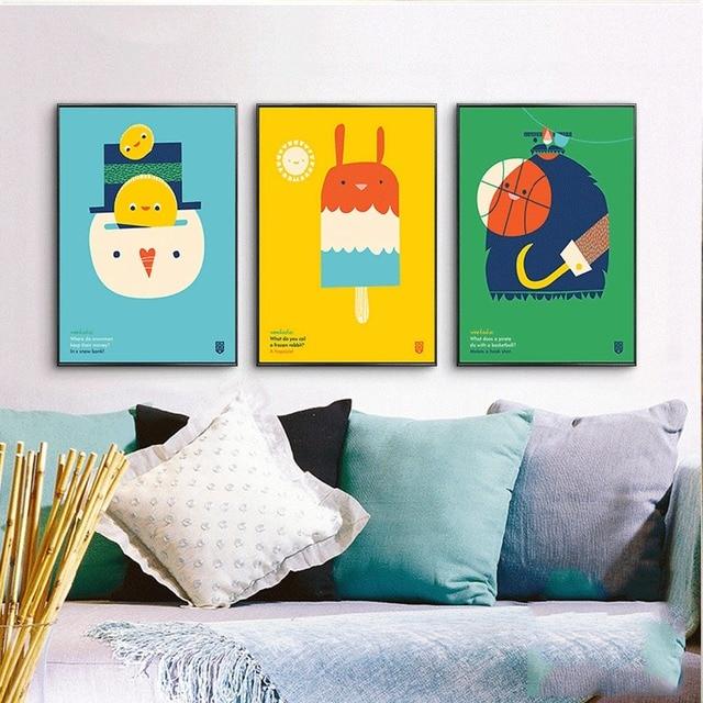 Moderne Deisgn Kunstwanddekor Bunten Sammlung Popsicle Ball Huhn Nordic  Minimalistische Leinwand Malerei Plakat Für Wohnzimmer