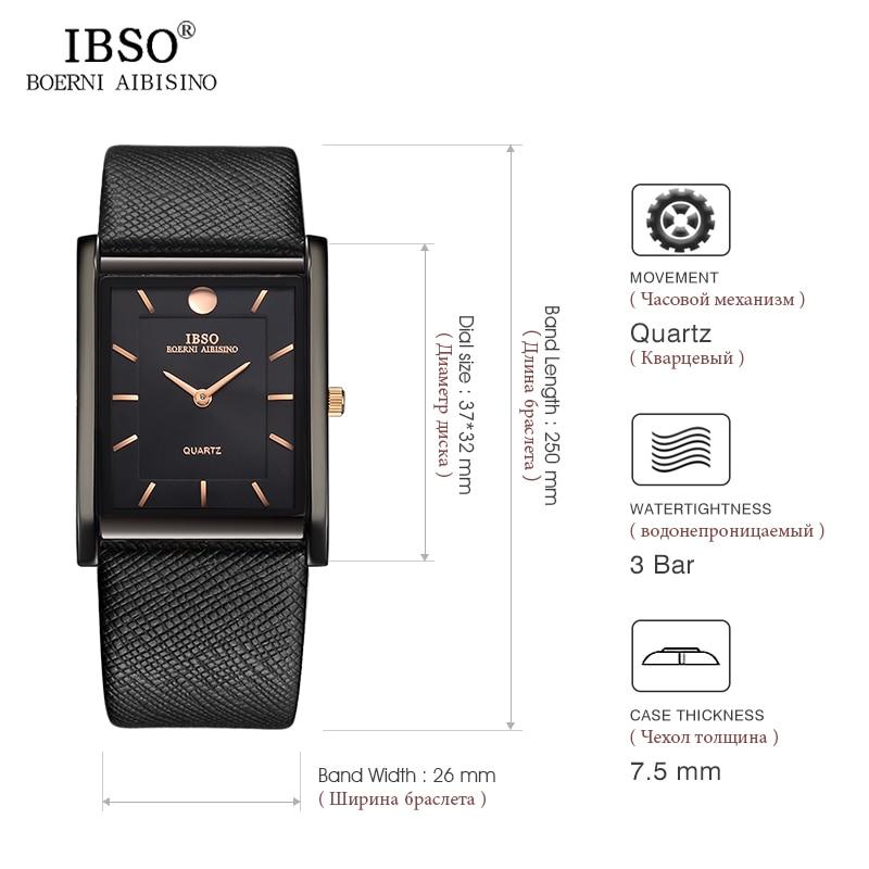 Image 5 - IBSO Brand Men Wrist Watch Luxury Quartz Watch Creative Rectangle Dial Business Men Leather Watches 2019 Erkek Kol Saati #2232-in Quartz Watches from Watches