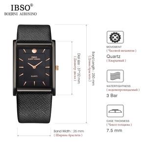 Image 5 - IBSO Brand Men Wrist Watch Luxury Quartz Watch Creative Rectangle Dial Business Men Leather Watches 2019 Erkek Kol Saati #2232