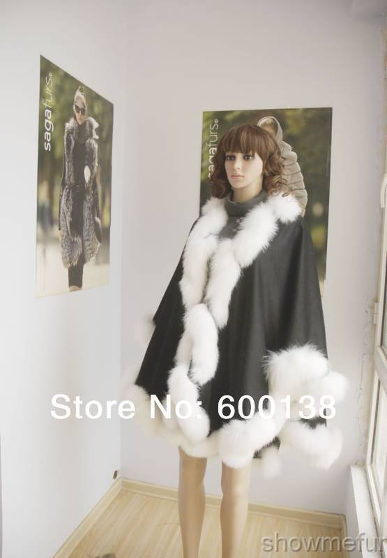 Doprava zdarma, tovární cena jaro podzim kašmírový pláštěnko se skutečnou kroucenou liškovou lištou opláštění šál délka 90cm