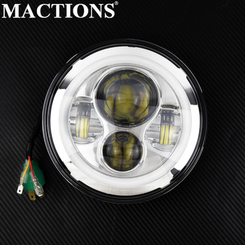 """Universal Motorcycle 7"""" Round LED Headlight With Angle Eyes High/Low Beam Headlamp Light For Harley Touring Street Glide Sofatil"""