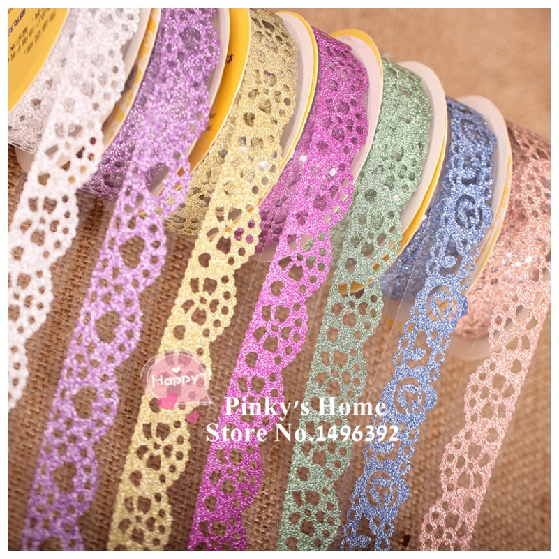 DIY Self Adhesive Lace Tape Glitter Tape Masking Decorative Sticky Tape Scrapbooking Book Decor Craft Rolls Adhesivos Scrapbook