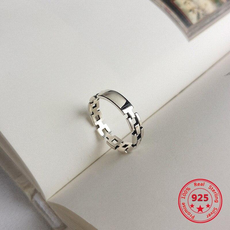 925 Sterling Silver Simple European American Retro Vintage Chain Rings Women Jewelry