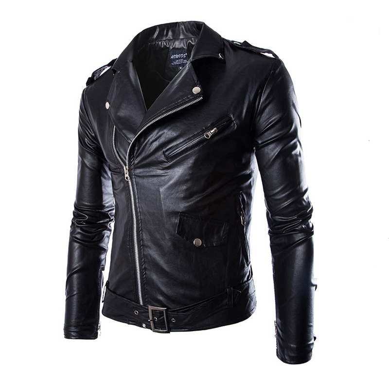 Korean Men Punk Locomotive Slim Leather Jacket British Fashion Male Leather Clothing Motorcycle Autumn Winter Jackets Coats
