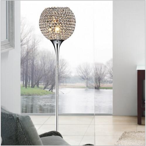 2016 hot sale luxurious modern brief fashion K9 crystal led E27 floor lamp for living room bed room decor light