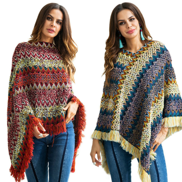 Winter loose pullover V-neck bat-style cloak large size rainbow Tassels sweater female pullover sweater women pull femme hiver