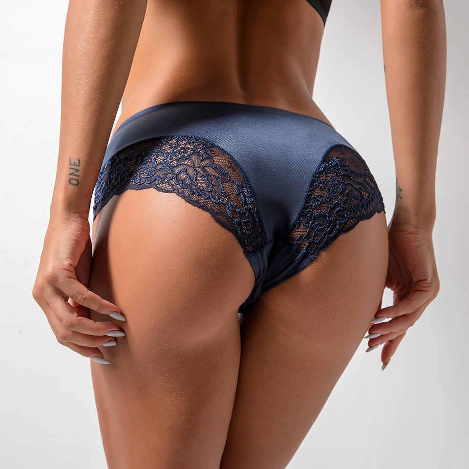 Ropa interior de mujer Bragas de encaje Sexy bragas sin costura bragas femeninas de gran tamaño de Color sólido Nylon seda Lencería transparente bragas