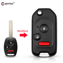 KEYYOU Modified Remote 2/3/4 Button Flip Car Key Shell Case For Honda Accord Civic 2006-2011 CRV 2018 Pilot fit With Rubber Pad(China)