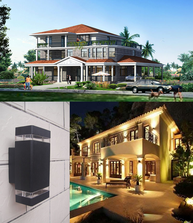 6pcs/lot Warm White White Color LED Waterproof Outdoor Lighting ,outdoor Led Wall Lamp Ac85 260v 8W IP65 ,Aluminum Garden Lamp