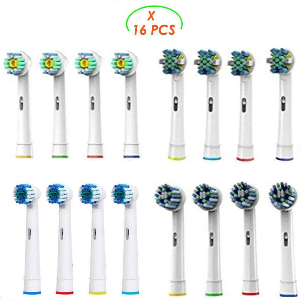 16 cabezunids ales de pincel para cepillo de dientes eléctrico Oral b Braun-incluyendo 4 Floss Action, 4 Cross Action, 4 Flexible Soft y 4 Pro White