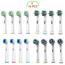 16 шт. насадки для Oral b Braun Электрический Зубная щётка-в том числе 4 зубочистки Действие, 4 Cross Action, 4 мягкие и 4 Pro Белый