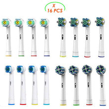 16pcs Brush Heads for Oral b Braun Electric Toothbrush - Including 4 Floss Action,4 Cross Action, 4 Flexible Soft & 4 Pro White