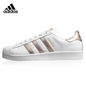 ba5cd722fd4 Adidas BB1428 Superstar Women s Walking Shoes Gold   White Breathable  Wear-resistant