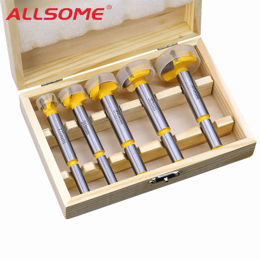 ALLSOME 5pcs Forstner Tips Hinge Boring Drill Bit Set For Carpentry Wood Window Hole Cutter Auger Wooden Drilling Bits HT2552