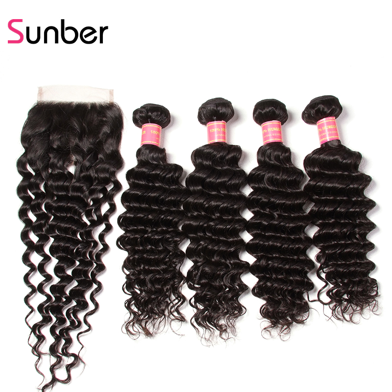 Sunber Hair Natural Black Remy Human Hair Extensions Brazilian Deep Wave 4 Bundles With Closure Free Shipping