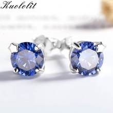 094071c1c Kuololit Tanzanite Gemstone Stud Earrings for Women Solid 925 Sterling  Silver Wedding Handmade Jewelry Fashion Gift For Girl New