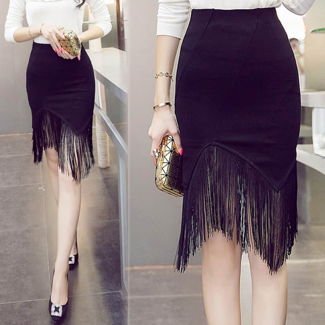 2b262d86b63 TingYiLi-Black-Fringe -Skirt-High-Waist-Slim-Tight-Bodycon-Skirt-Elegant-Office-Ladies-Knee-Length-Pencil.jpg_640x640q70.jpg