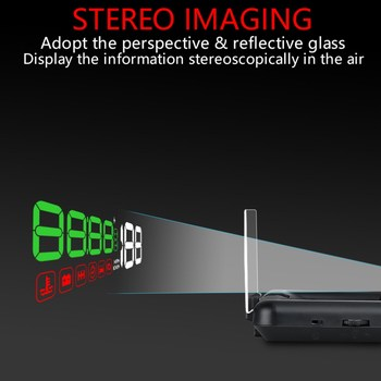 Car HUD Head Up Display OBD2 II EUOBD Overspeed Warning SystemStereoscopic  Projector Windshield Auto Electronic Voltage Alarm